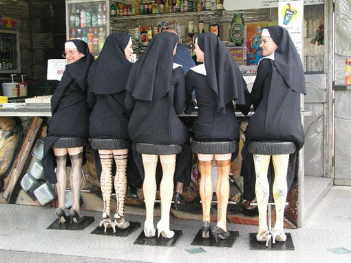 5 nuns sitting at a bar!