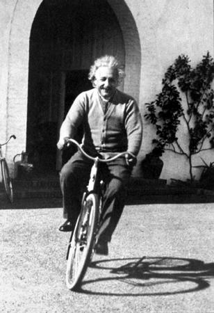 Einstein riding a bike !